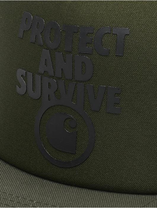 Carhartt WIP Trucker Cap Protect & Survive grün