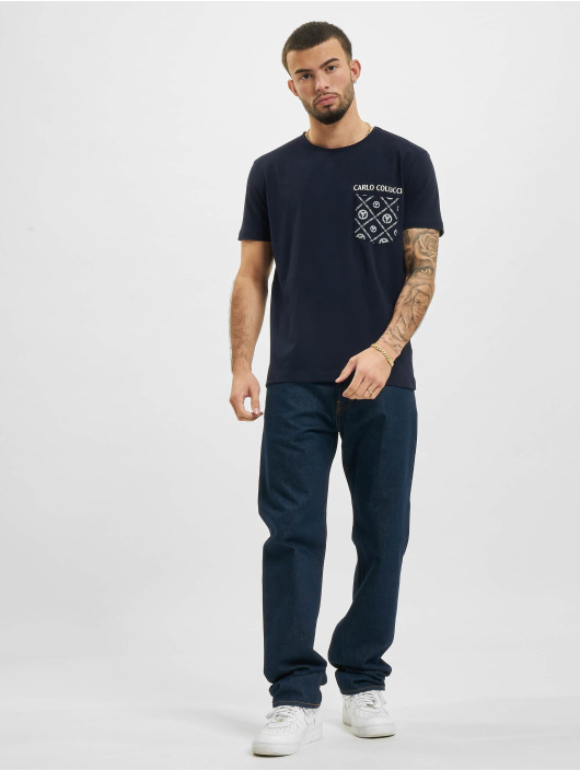 Carlo Colucci T-Shirt Pocket blau