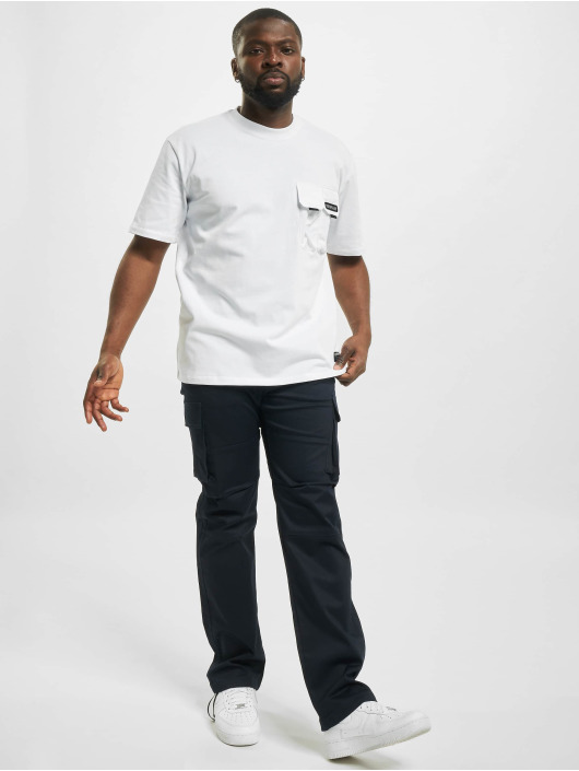 Caterpillar T-Shirty Double Pocket bialy