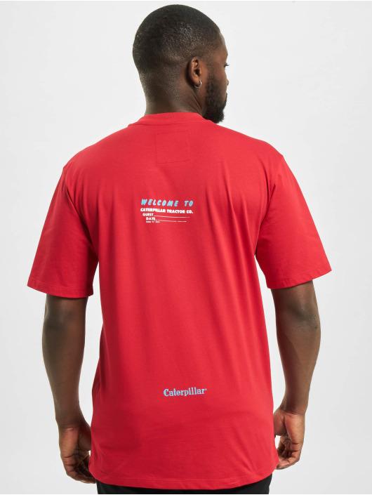 Caterpillar T-Shirty Vintage Print czerwony