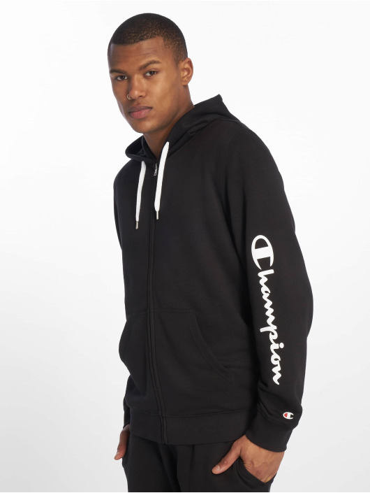 Champion Hooded Full Zip Sweatshirt WhiteBlackJaspe MelangeYarn Dyed
