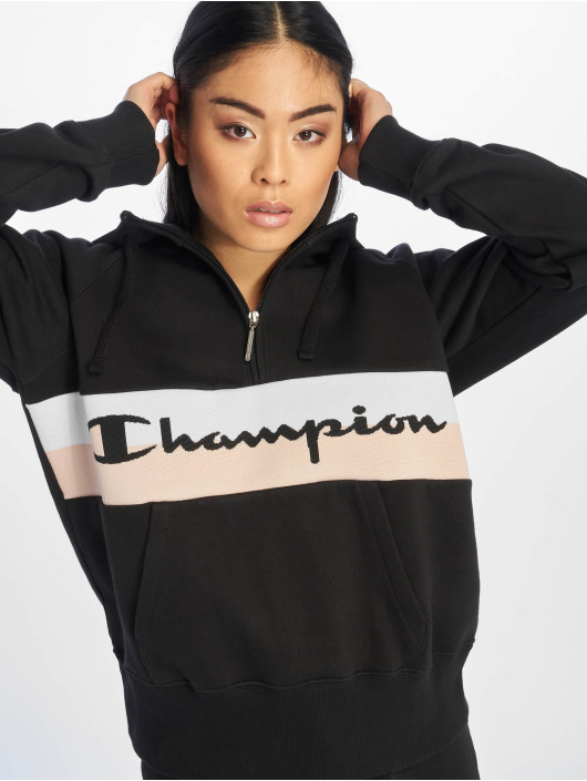 Champion Rochester Zip Hoodie Stripe Logo schwarz