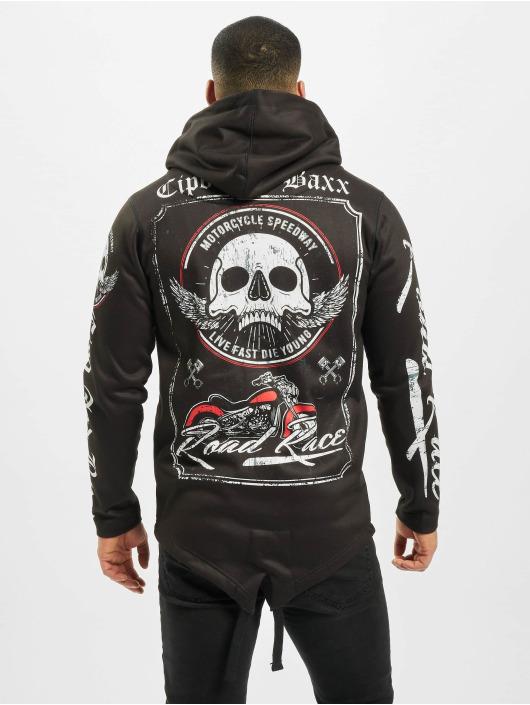 Cipo & Baxx Zip Hoodie Skull čern