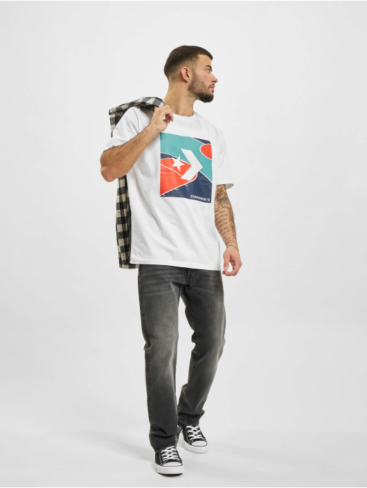 Converse T-Shirt Colorblocked Court blanc