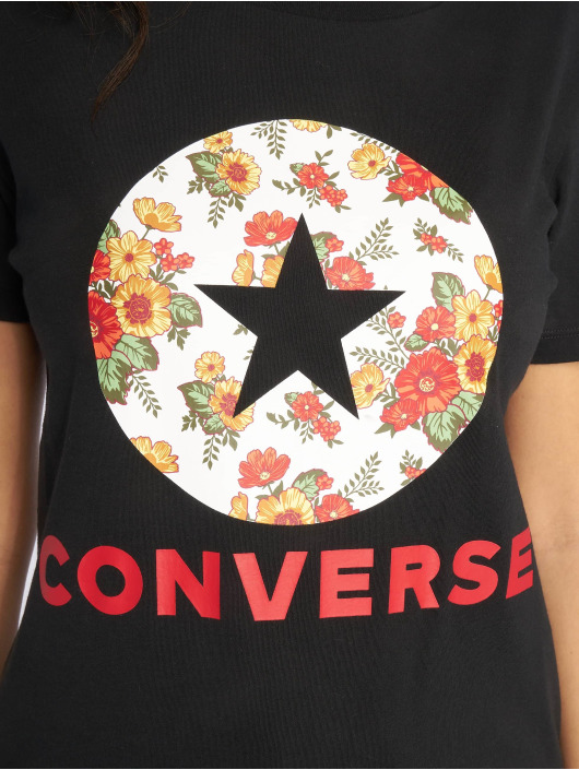 Converse T-Shirt In Bloom schwarz