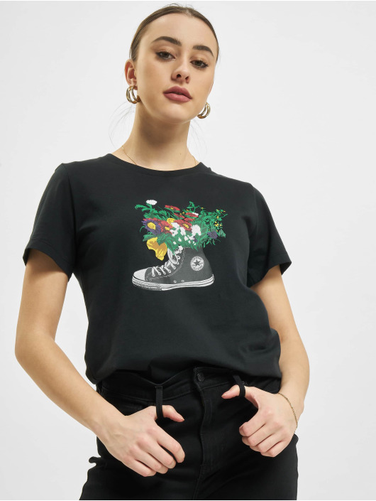 Converse T-Shirt Flowers Are Blooming schwarz