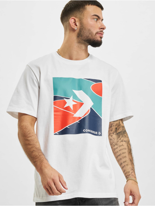 Converse T-shirt Colorblocked Court vit