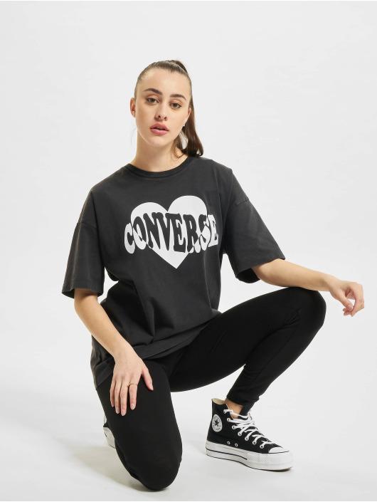 Converse t-shirt Vintage Wash Heart Infill zwart
