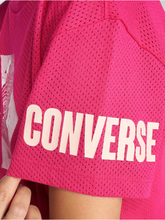 Converse T-Shirty Floral Fill Chevron Mesh Easy Crop pink