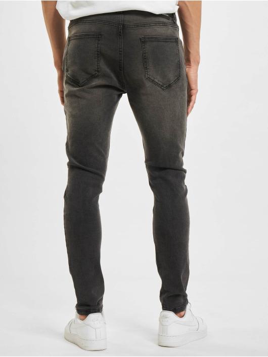 Criminal Damage Skinny Jeans Rip šedá