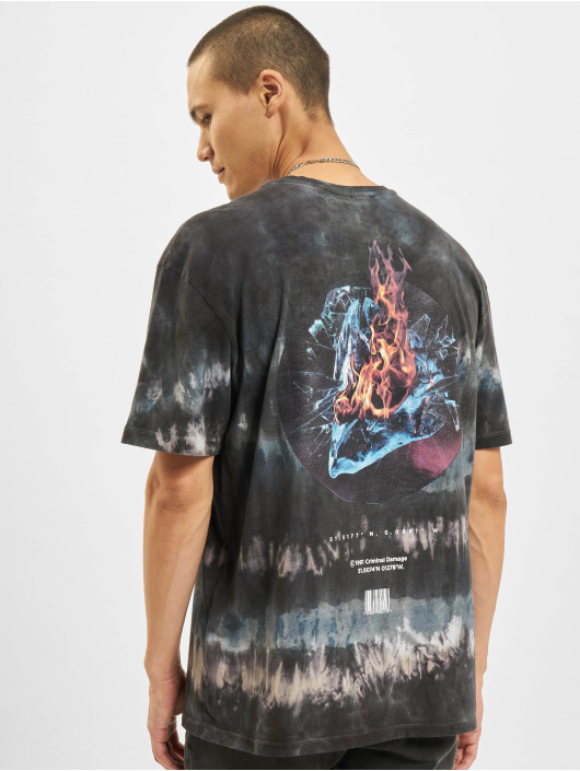Criminal Damage T-shirts Fire Ice Tie Dye blå