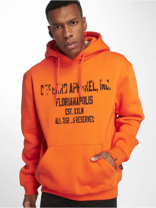 De Ferro Bluzy z kapturem Hood Word Orange pomaranczowy