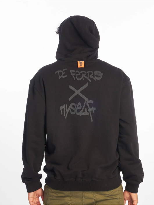 De Ferro Hoodie Straight Face Hood svart