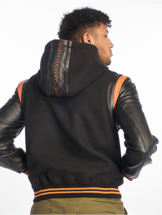 De Ferro Leather Jacket Bb Orange Art black