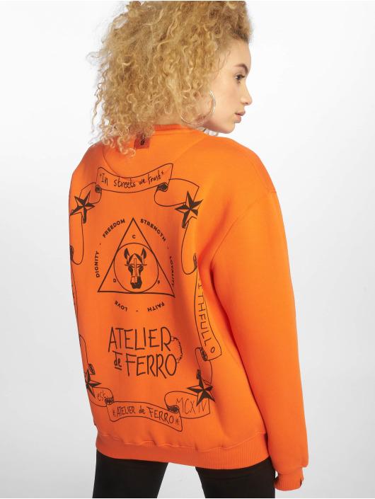 De Ferro Swetry Orange Fantasy Crew pomaranczowy