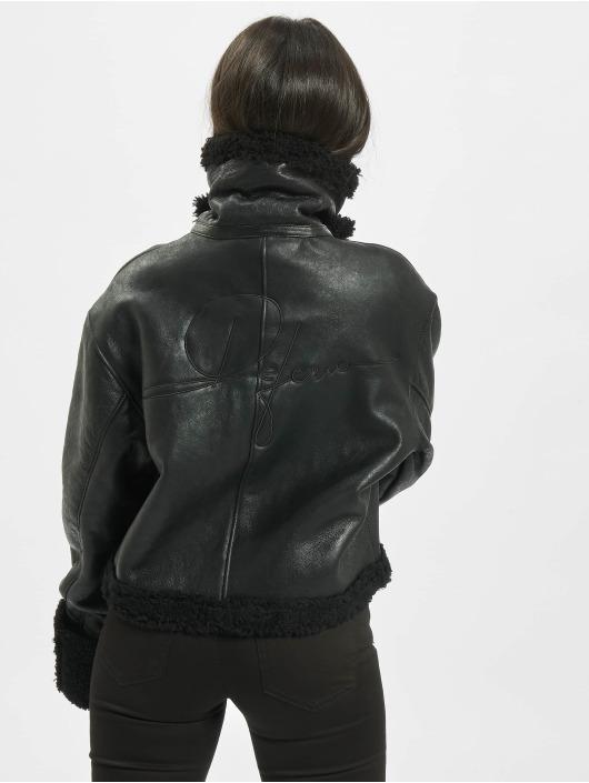 De Ferro Veste & Blouson en cuir Black Lam noir