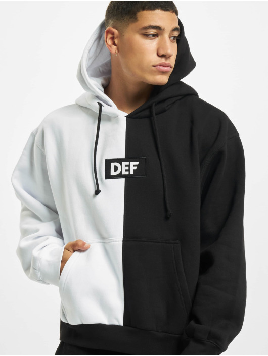 DEF Bluzy z kapturem Double Hooded 2 Face czarny