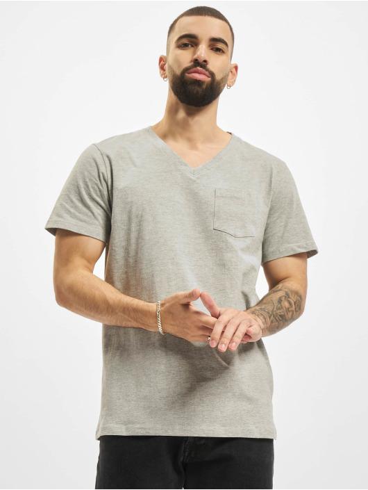 DEF T-Shirt V-Neck grau