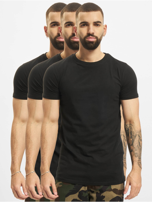 DEF T-Shirt Weary 3er Pack noir