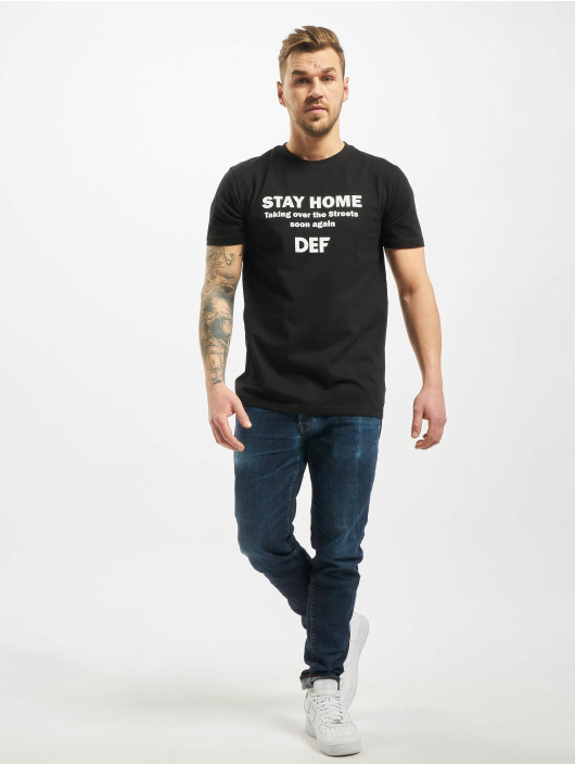 DEF T-Shirt Stay Home schwarz