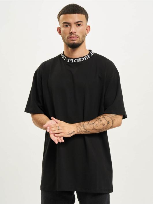 DEF T-Shirt Basic Rib schwarz