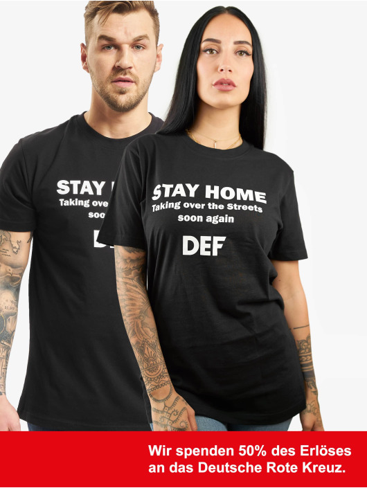 DEF t-shirt Stay Home zwart