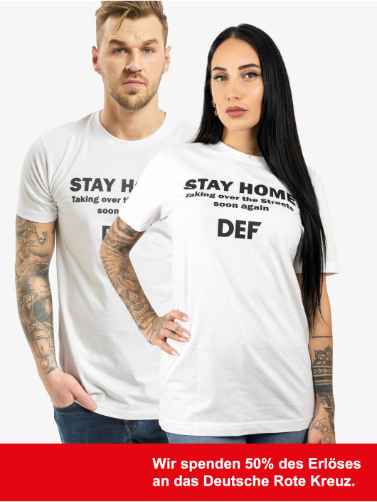 DEF T-Shirty Stay Home bialy
