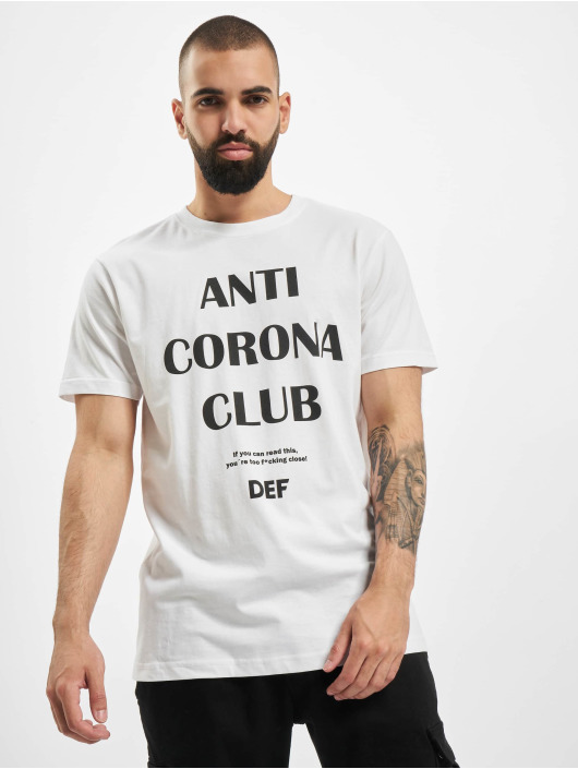 DEF T-Shirty Anti Corona bialy