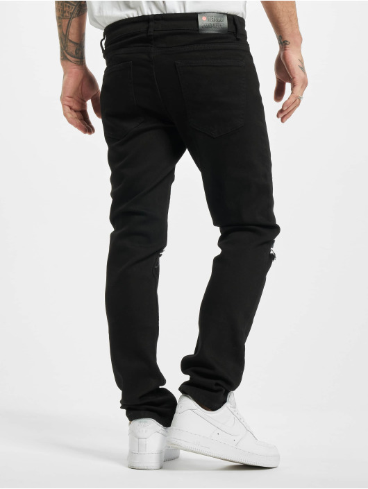 Denim Project Straight Fit Jeans Mr Red Knee Cut schwarz