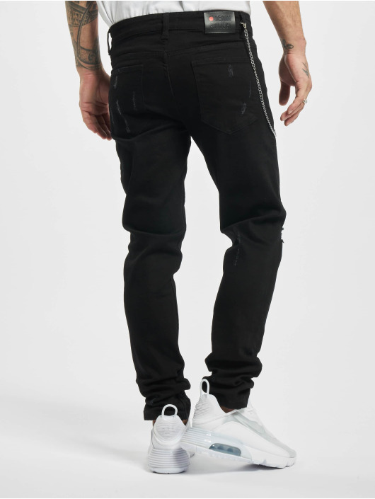 Denim Project Straight Fit Jeans Mr. Red Chain Destroy schwarz