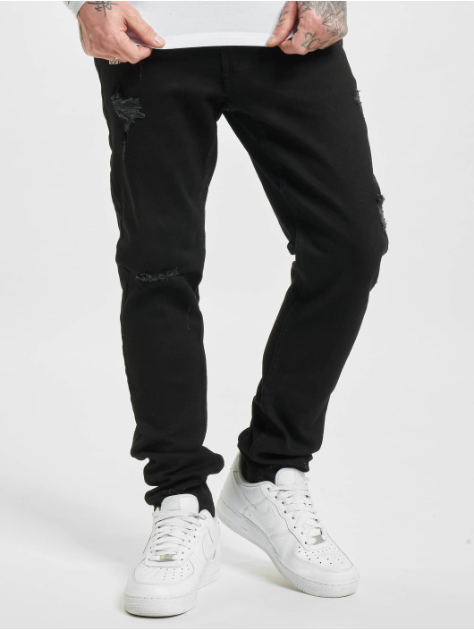 Denim Project Straight Fit Jeans Mr. Red Destroy schwarz