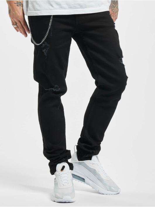 Denim Project Straight Fit Jeans Mr. Red Chain Destroy svart