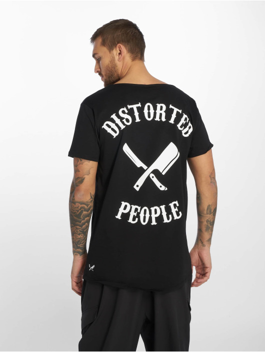 Distorted People T-shirt Cutted Neck svart