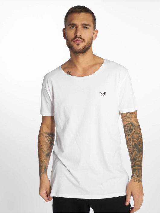 Distorted People T-Shirty Cutted Neck bialy