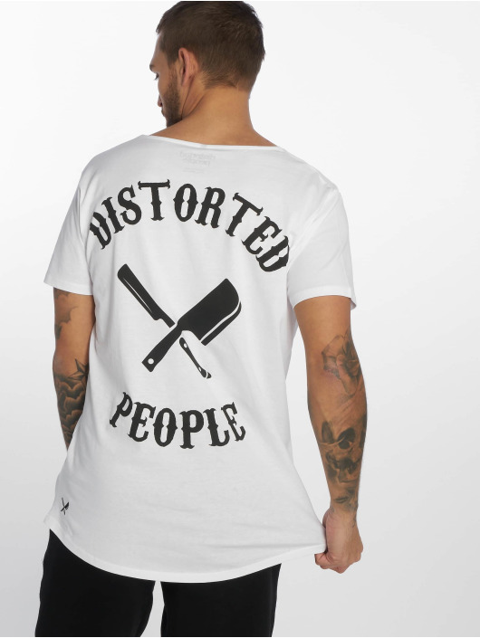 Distorted People Tričká Cutted Neck biela