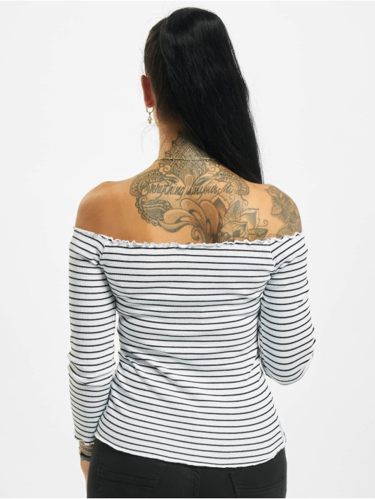 Eight2Nine Camiseta de manga larga 3/4 Off Shoulder blanco