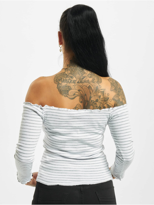 Eight2Nine Camiseta de manga larga 3/4 Off Shoulder blanco