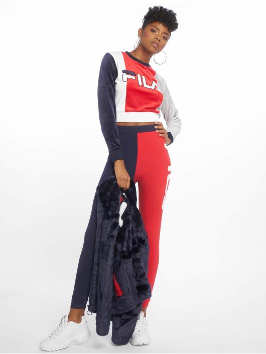 FILA Swetry Antonietta Velour Colour Block Crop czerwony