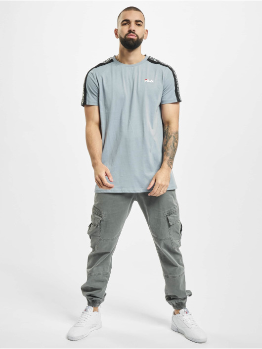 FILA T-Shirty Bianco Tavorian Taped niebieski