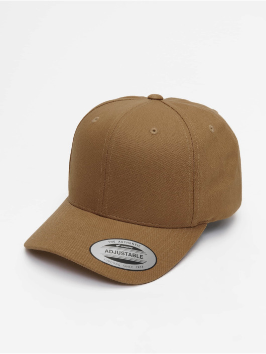 Flexfit Snapback Cap 6-Panel Curved Metal braun