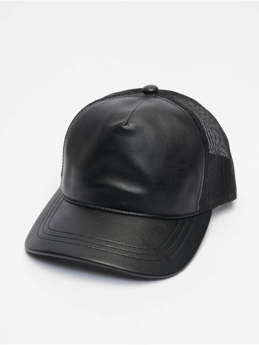 Flexfit Trucker Cap Leather schwarz
