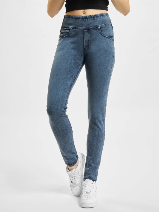 Freddy Jean skinny N.O.W. Yoga Skinny Jeans mit umschlagbarem Taillenbund Marmor Optik bleu