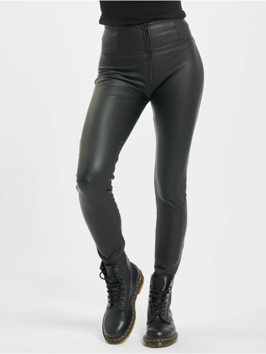 Freddy Skinny Jeans Highwaist Faux Leather schwarz