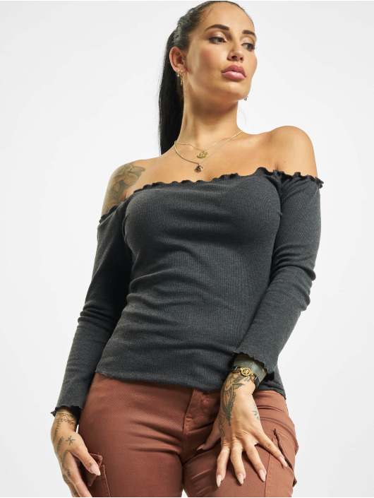 Fresh Made Maglietta a manica lunga 3/4 Off Shoulder grigio