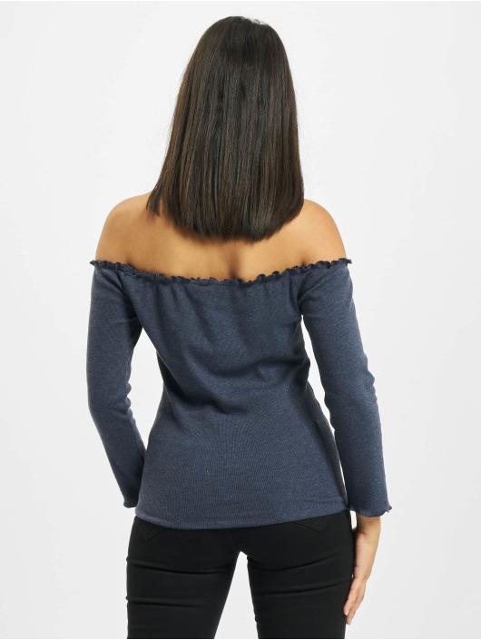 Fresh Made T-Shirt manches longues 3/4 Off Shoulder bleu