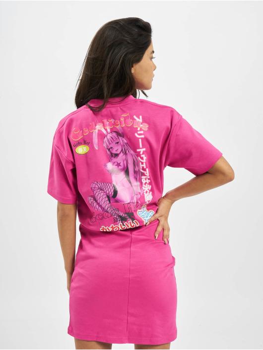 GCDS Šaty WRAPPED MONSTER růžový