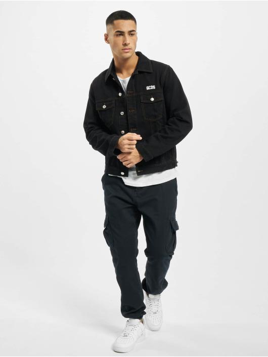 GCDS джинсовая куртка Chest Logo черный