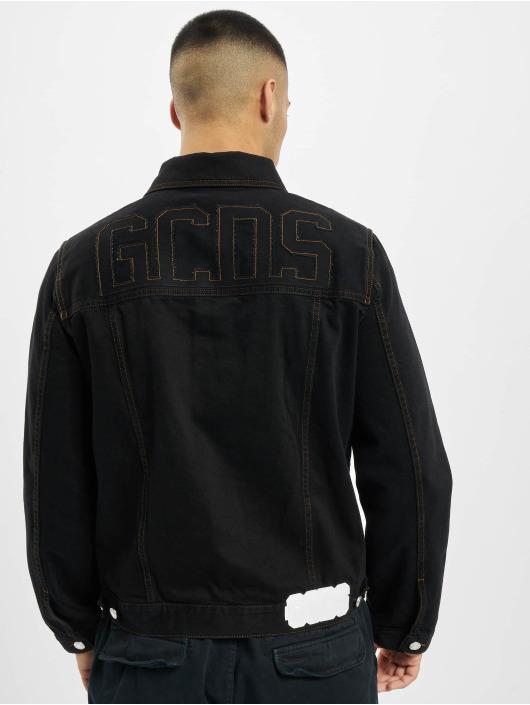 GCDS Džínová bunda Chest Logo čern