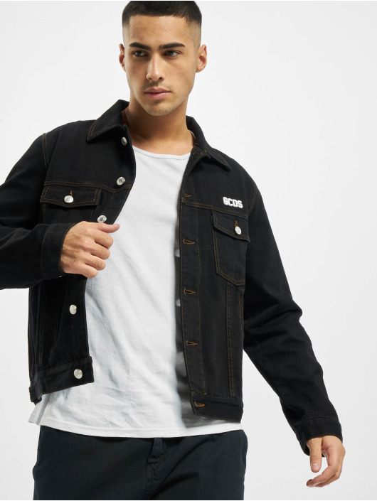 GCDS Jeansjacken Chest Logo schwarz