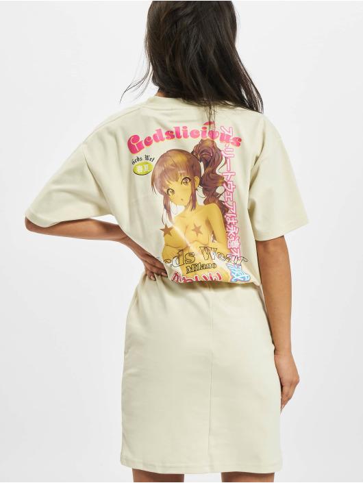 GCDS jurk WRAPPED MONSTER beige